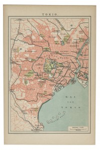 Tokio, Japan - old map of