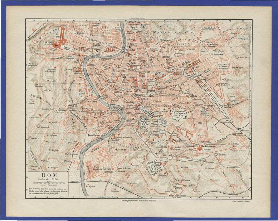 1871 map of europe. old map of Rome,