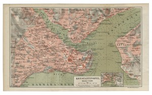 Old 19th Century Map of Constantinople, modern day Istanbul