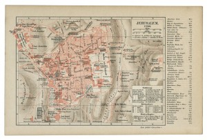 Old 19th Century Map of Jerusalem