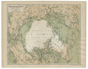 Old 19th Century Map of the North Polar Region with routes of the early expeditions