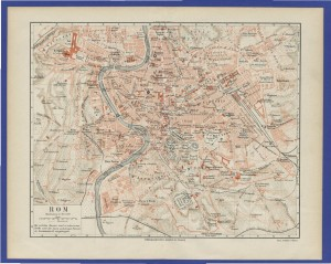 old 19th century map Rome, Italy