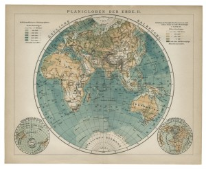 Old 19th Century Map of the Eastern Hemisphere of the World