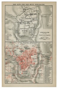 old 19th century map old and new jerusalem