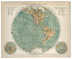 old 19th century map western hemisphere