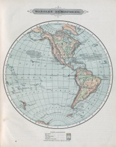 Map of the Western Hemisphere of the world