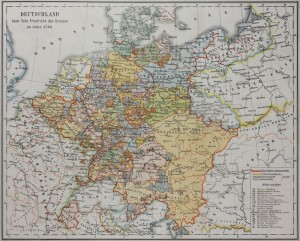 Map of Germany in the 18th Century after the death of Frederick the Great (Friedrich des Grossen)