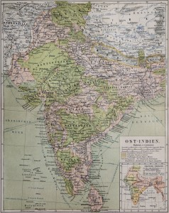 Old Map of India from the 19th Century