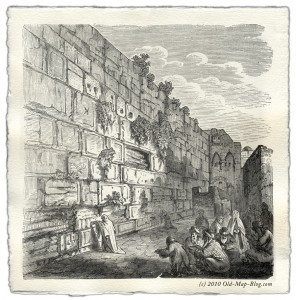 Wailing Wall - Jerusalem - 19th century engraving