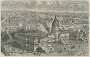 Capitol in Washington - United States - 19th Century Print