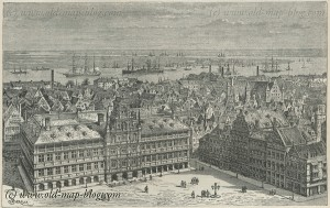 Amsterdam - Netherlands - View from Cathedral - 19th century print