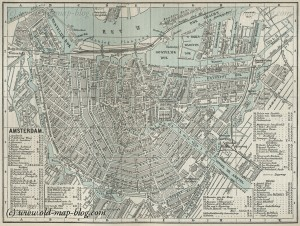 Amsterdam - Netherlands - old 19th century map