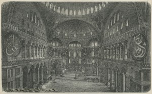 Interior of the Hagia Sophia - Istanbul - Constantinople - Turkey - 19th century print