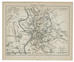 Map of ancient Rome - 19th century - Italy, Rome