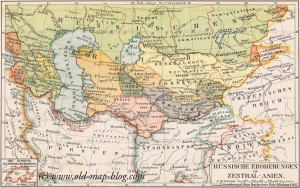 Russian conquests in central Asia - old map