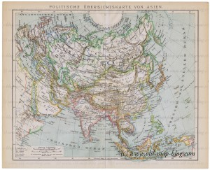 Old political map of Asia - 19th century