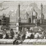 Mosque in Dehli, India &#8211; old engraving