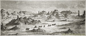 Mauvaises Terres (Badlands), Dakota, United States - old_engraving